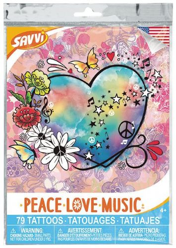 Peace . Love . Music Temporary Tattoos